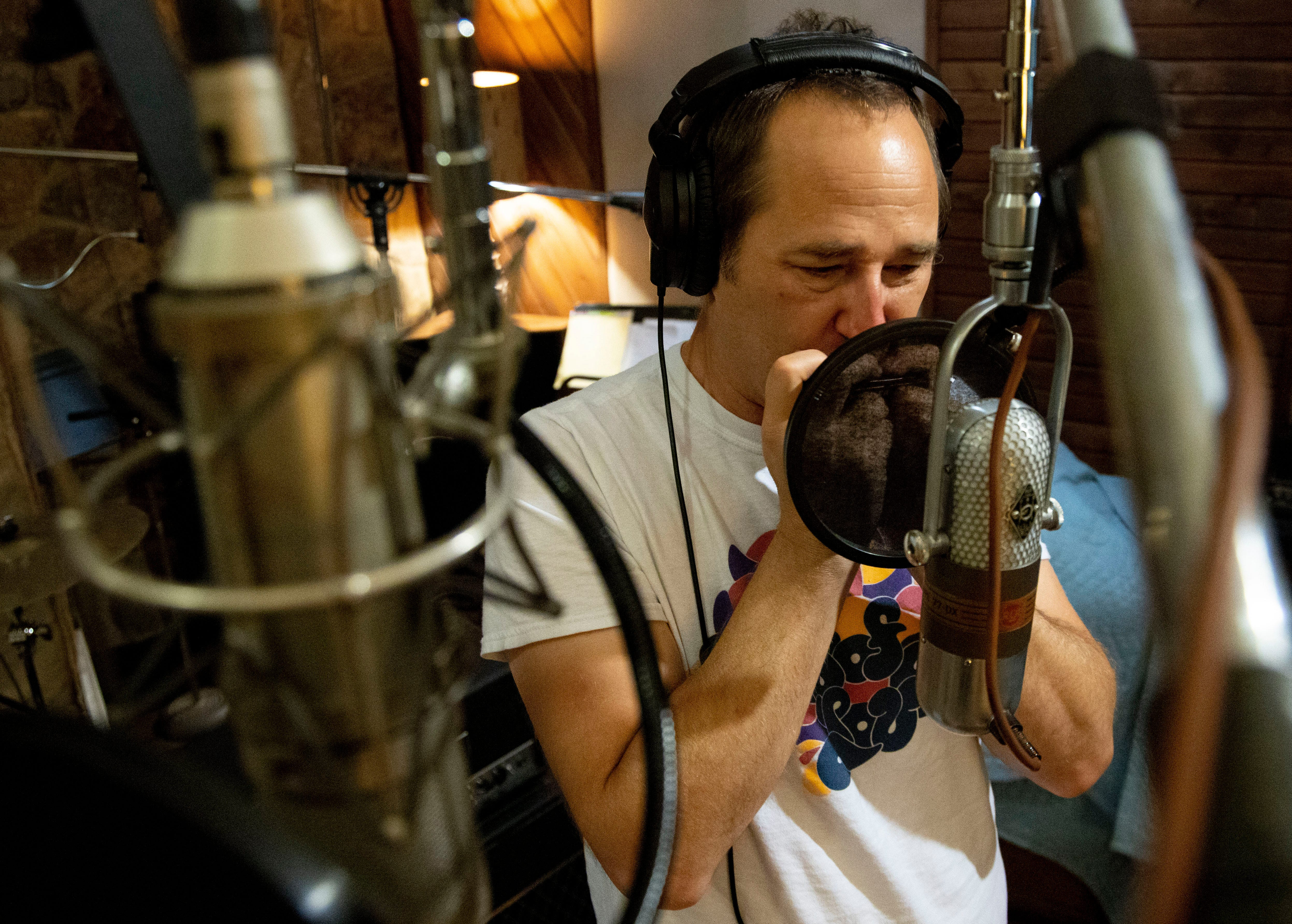 Greg Cartwright of Reigning Sound records a harmonica track Tuesday, Sept. 1, 2020, at Electraphonic Recording in Memphis.