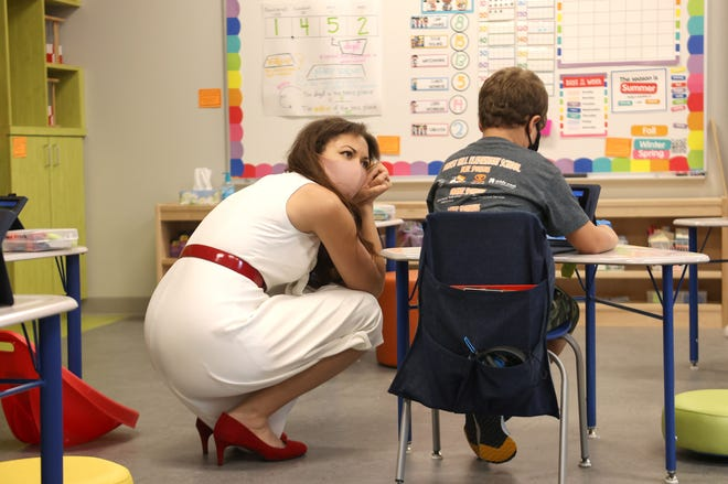 Tennessee Education Commissioner Penny Schwinn interacts with students during a visit to Forest Hill Elementary School on Wednesday, Sept 2, 2020.