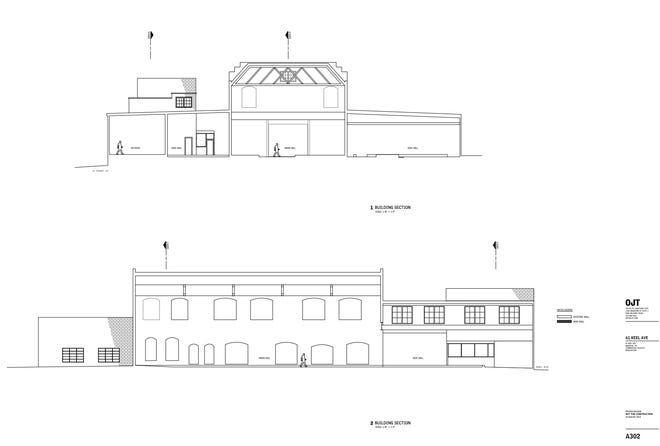 An architectural rendering shows an outline of the planned renovations to the Tri-State Ironworks Building in Uptown.