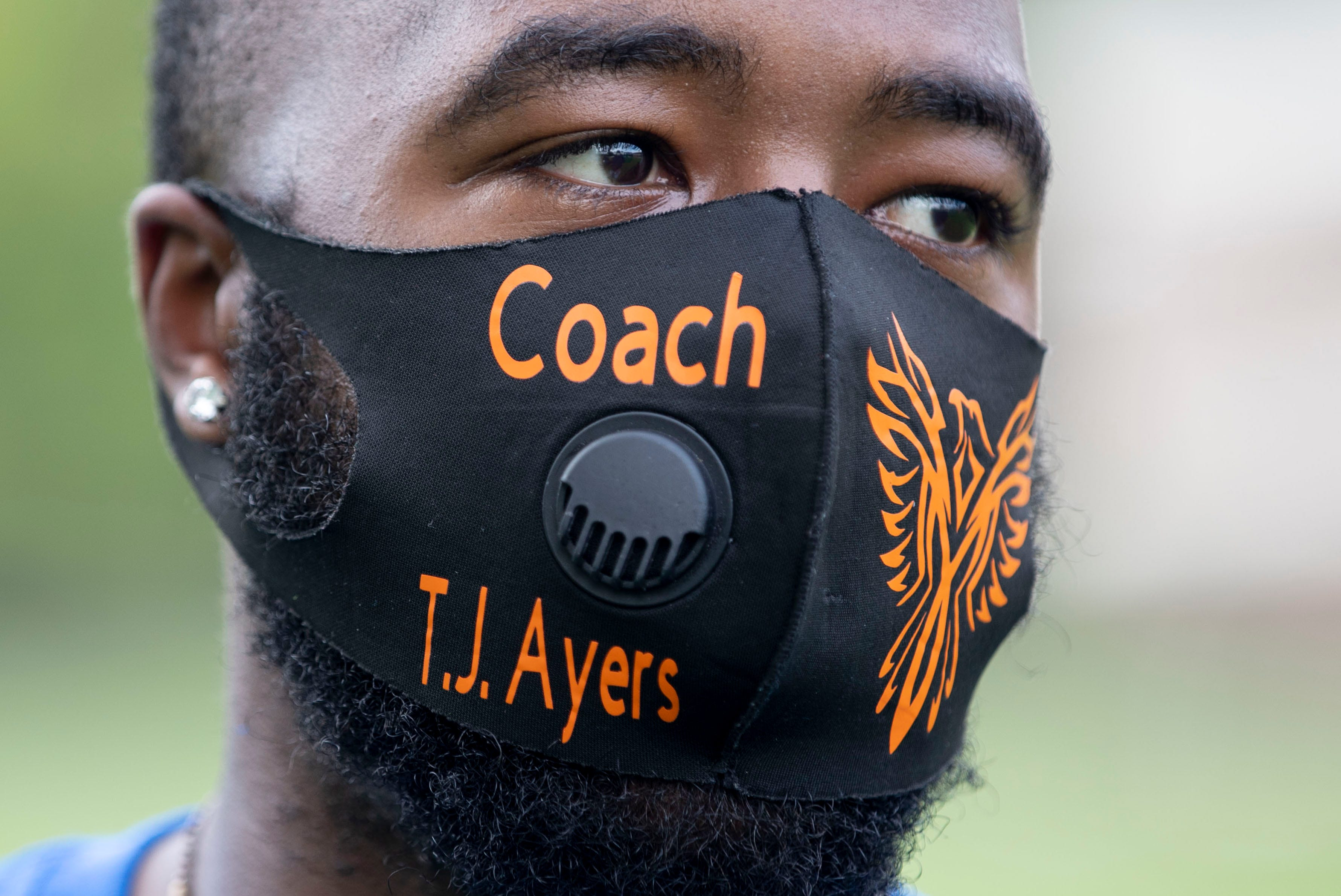 Football coach T.J. Ayers talks about the challenges this football season Tuesday, Sept. 1, 2020, at KIPP Memphis Collegiate High School.