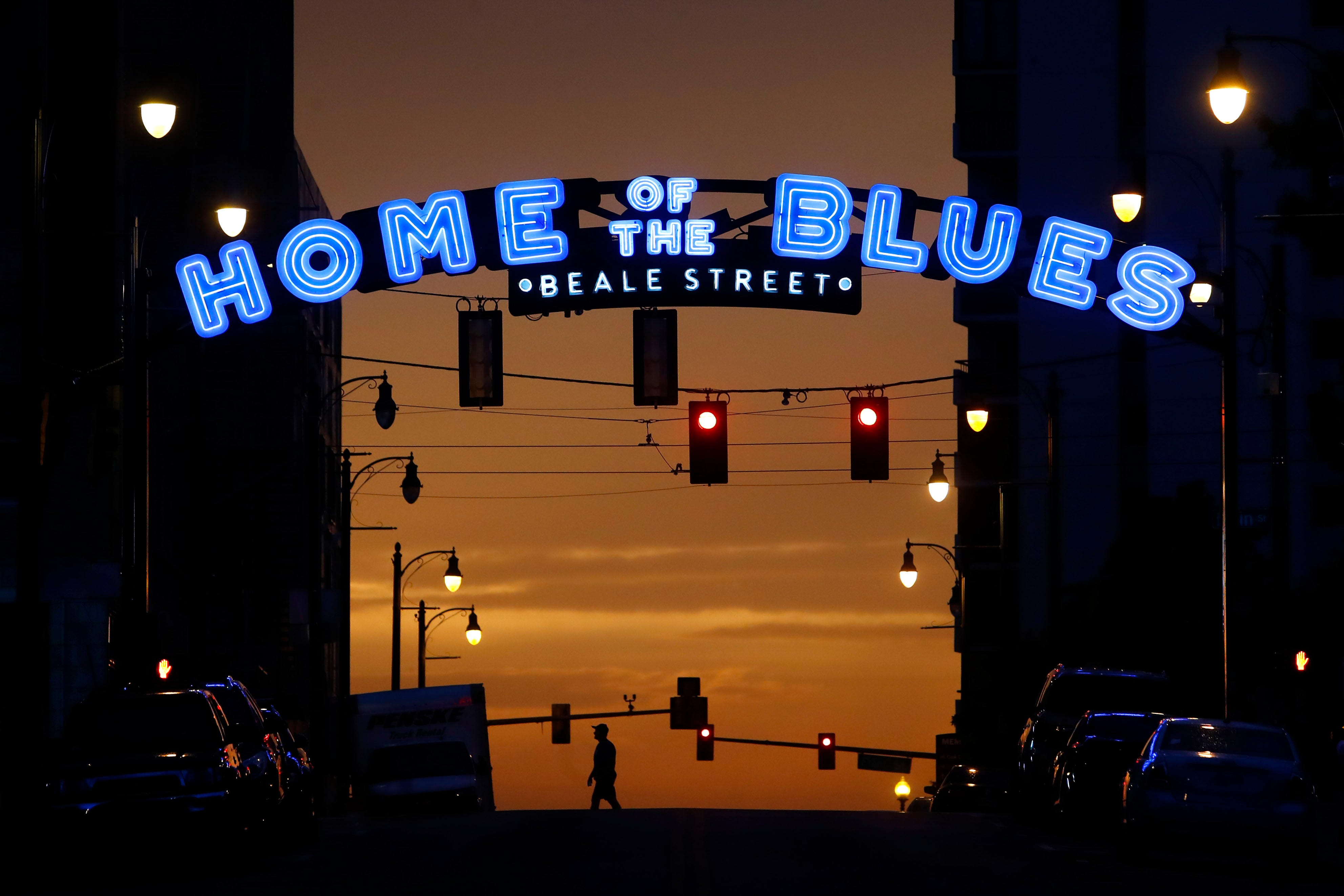 The sun sets over Beale Street on Tuesday, Sept. 1, 2020.