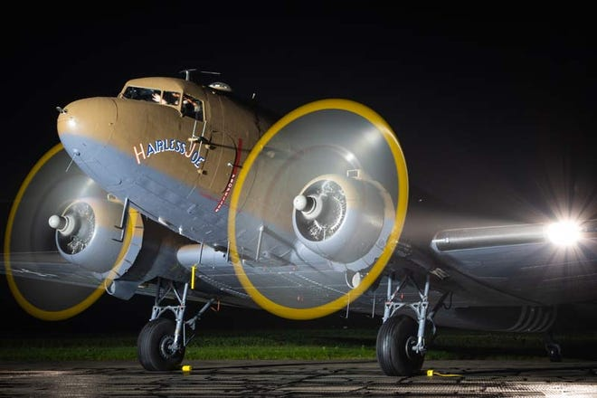 """The Douglas C-47 """"Hairless Joe,"""" a WWII-era paratrooper transport plane, will be visiting the Liberty Aviation Museum on Saturday, offering both tours and rides."""