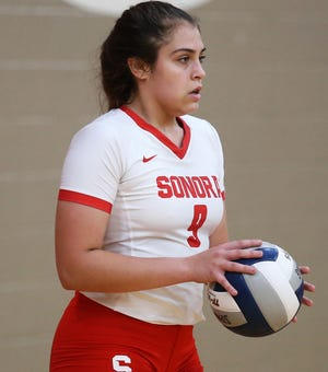 Sonora's Kaylyn Hoffman concentrates before serving against Sterling City in a volleyball showdown at the Sonora High School gym on Tuesday, Sept. 1, 2020. Sonora won in straight sets.