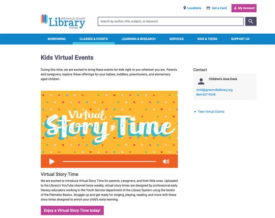 A screen shoot of virtual events offered by the Greenville County Library System on their website.