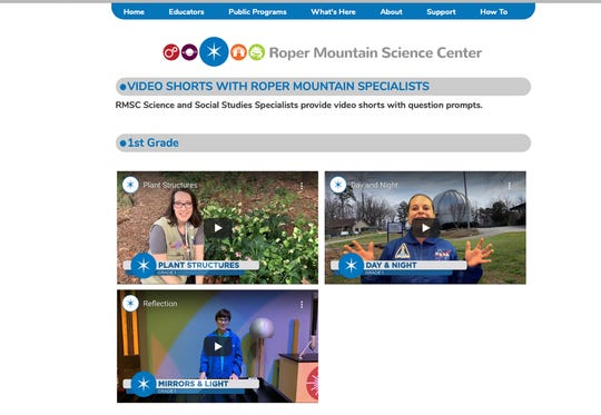 Online learning videos on the Roper Mountain Science Center's website.