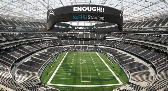 A view inside SoFi Stadium as the Chargers canceled a scrimmage in the wake of protests following the police shooting of Jacob Blake in Kenosha, Wisconsin.