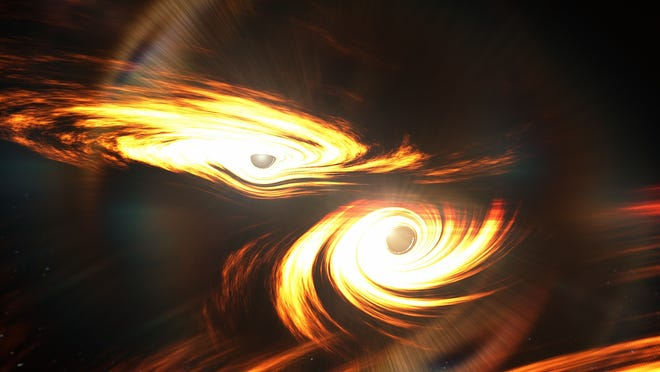 Artist's impression of binary black holes about to collide. It is not known if there were any electromagnetic emissions associated with GW190521.