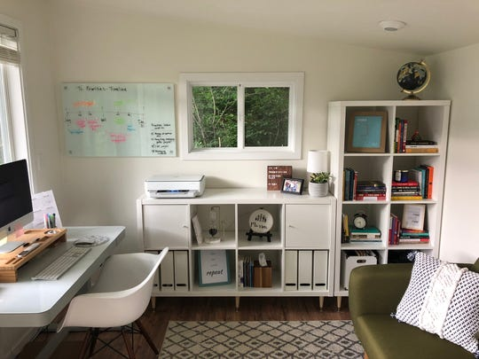 Inside Julie Masson's she shed that she uses as a home office.