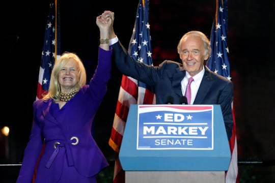 Incumbent Sen. Edward Markey celebrates with wife Susan, left, in Malden, Mass., after defeating Rep. Joe Kennedy III, on Tuesday, Sept. 1, 2020, in the Massachusetts Democratic Senate primary.