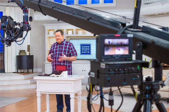 Host David Venable appears on 'Down Home with David,' one of his QVC shows, from the network's studio in West Chester, Pennsylvania.