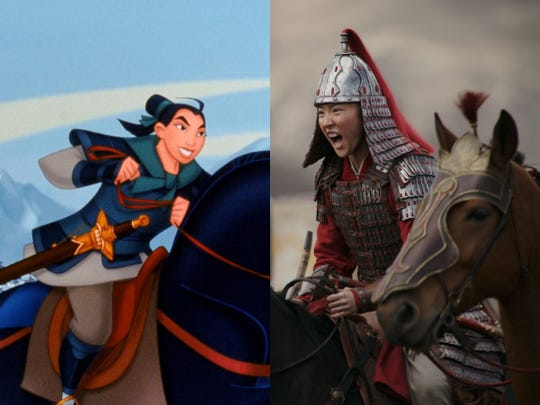 "The 1998 animated ""Mulan"" (left) and the 2020 live-action ""Mulan"" (right) both follow the journey of a powerful female warrior, but the films have a few differences."