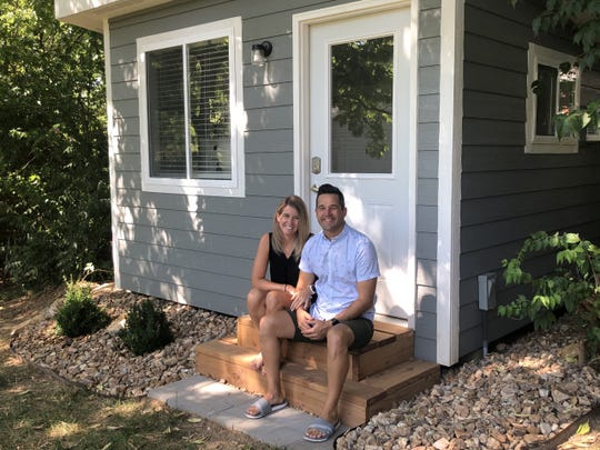 "Julie Masson's backyard ""she shed"" looks like a mini home. Her husband Jesse helped build it during the pandemic so she can work remotely."
