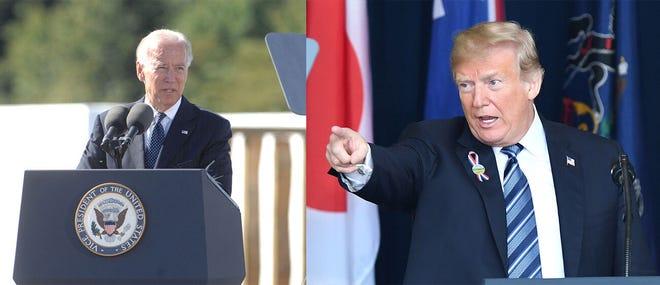 Vice President Joe Biden, left, speaks on Sept. 11, 2012, at the Flight 93 National Memorial. At right, President Donald Trump speaks on Sept. 11, 2018, at the Flight 93 National Memorial.