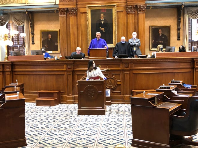 South Carolina Sen. Mia McLeod asks her fellow senators to allow as much flexibility as possible because of the COVID-19 pandemic for voting in the November election during a special session on Wednesday in Columbia.