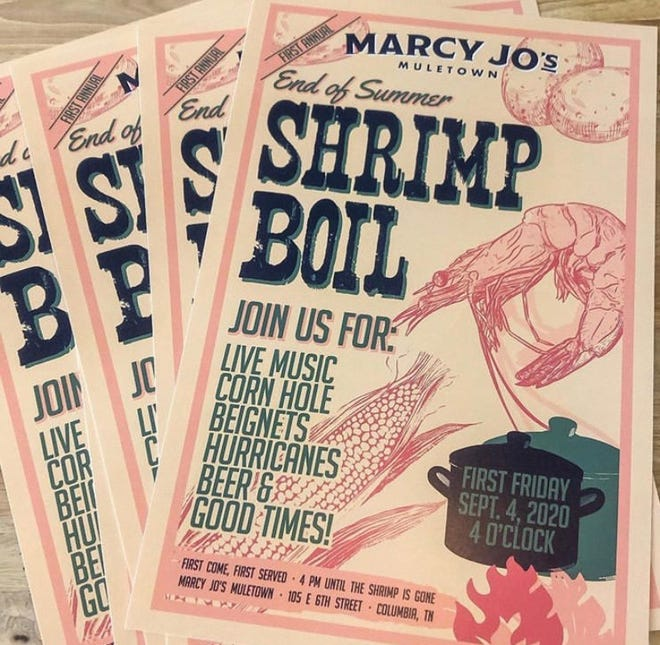 First Fridays this month will feature an outdoor Shrimp Boil at Marcy Jo's Muletown, which will include lots of great food, live music and more. (Courtesy photo)
