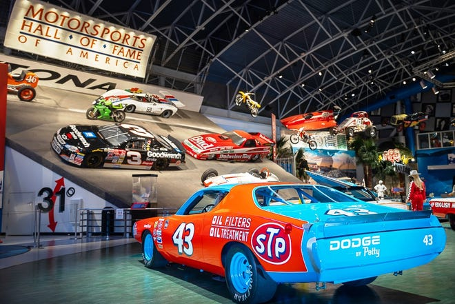 Richard Petty's No. 43 Dodge stock car is now on display at the Motorsports Hall of Fame of America at Daytona International Speedway.
