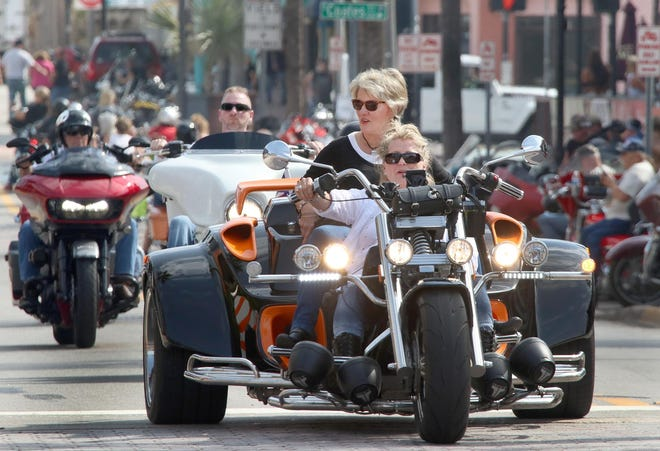 A couple of lady bikers on a trike ride down Main Street, Wednesday March 13, 2019 as Bike Week rolls on. While not affiliated with Bike Week, the third annual TrikeFest brings all makes and models of three-wheeled vehicles to Daytona Beach Sept. 18-20, 2020.