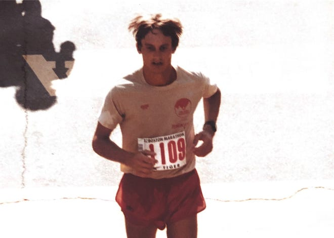Jim Musante in 1982, competing in his second of 39 straight Boston Marathons.