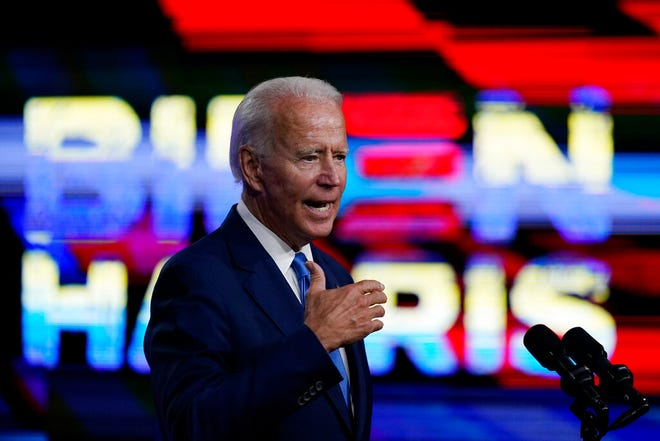 Democratic presidential candidate and former Vice President Joe Biden speaks in Wilmington, Del., Wednesday, about school reopenings.