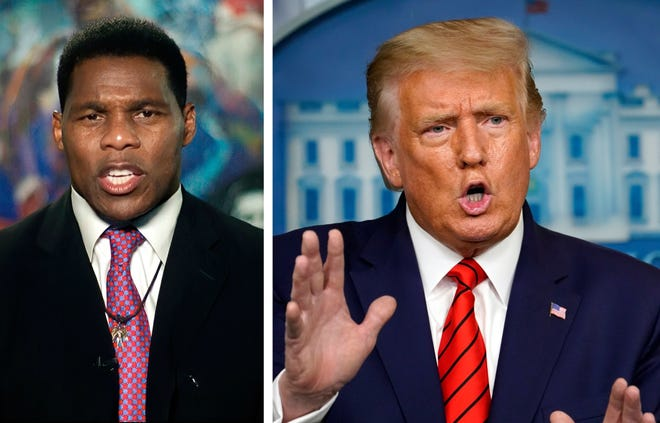 Former Georgia Heisman Trophy-winning running back Herschel Walker, arguably the greatest college football player of all-time, gave a speech endorsing President Trump at the Republican National Convention. FILE PHOTOS/AP