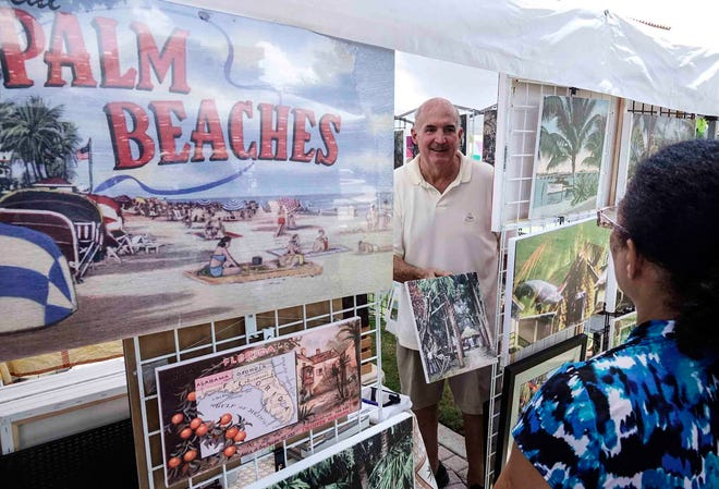 Jefferson Blakeslee of Palm Beach Native Vintage Images chats with a visitor to his booth at the Mango Festival at the Cultural Plaza in downtown Lake Worth in  June  2018. [Bruce R. Bennett/Daily News file photo]