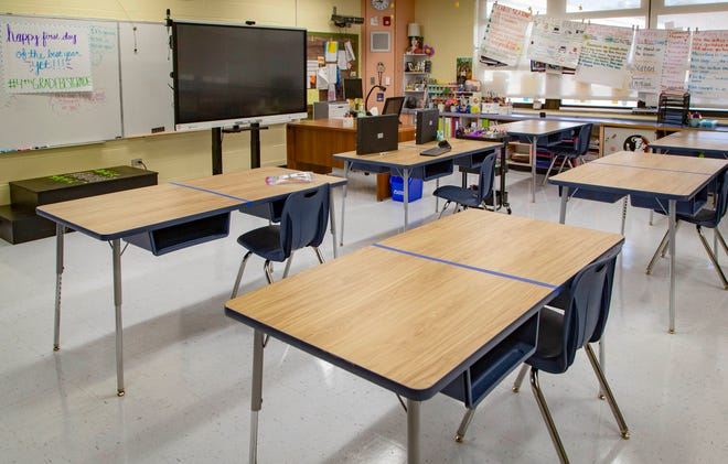 A fourth-grade classroom at at Loxahatchee Groves Elementary School is set up for social distancing. Only one student will be allowed per desk.