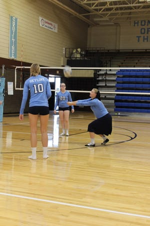 A trio of Skyline High School volleyball players spend pre-game time warming up with some bump ball prior to their pre-season scrimmage last week Thursday. The Thunderbirds have already found success on the courts in competition and look forward to a competitive season.