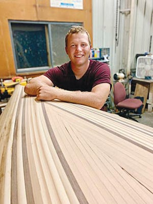 Hayden Schrag takes a breather from his labors of building a 15-foot two-person canoe, a project he estimates will take him 400 man-hours of labor and love to complete. The Pratt High School Class of 2016 alum, holding a bachelor's degree from Wichita State University and master's degree from Georgetown University in Washington, D.C., said he is looking forward to a 2020 launch.