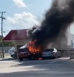 A man drives into Chester E-z Mart and asks for a fire extinguisher. Minutes later his Chrysler SUV is fully engulfed in flames and destroyed.