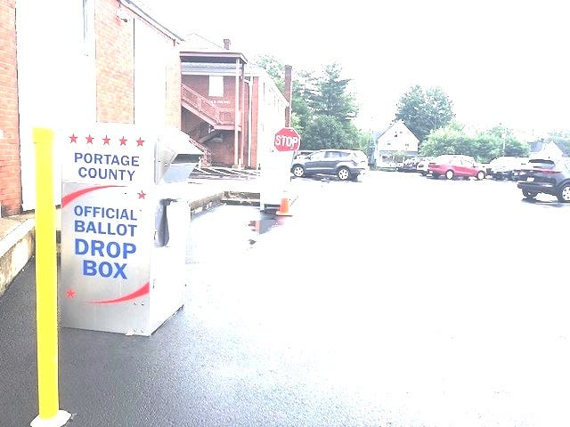 Portage County's lone official ballot drop box in the parking lot of the County Administration Building off Meridian Street in Ravenna.