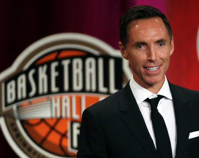 FILE - In this Sept. 7, 2018, file photo, Steve Nash speaks during his Sept. 7, 2018 induction ceremony at the Basketball Hall of Fame in Springfield, Mass. (AP Photo/Elise Amendola)