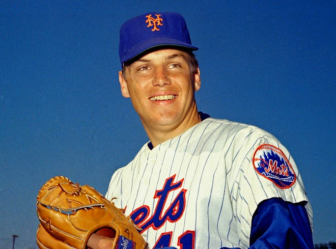 Tom Seaver, seen here in March 1968, was a five-time 20-game winner and the 1967 NL Rookie of the Year. For his career, he had a 311-205 record with a 2.86 ERA, 3,640 strikeouts and 61 shutouts. [AP Photo, File]