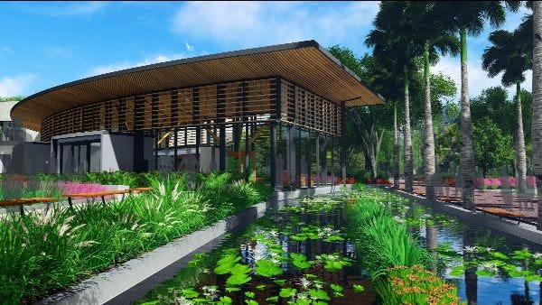 A rendering of the proposed design for the new welcome center at Marie Selby Gardens. The nonprofit will go before the planning commission on Sept. 22.