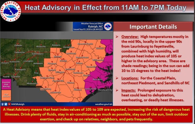 The Cape Fear region remains under a heat advisory today, and Friday will be nearly as stifling.