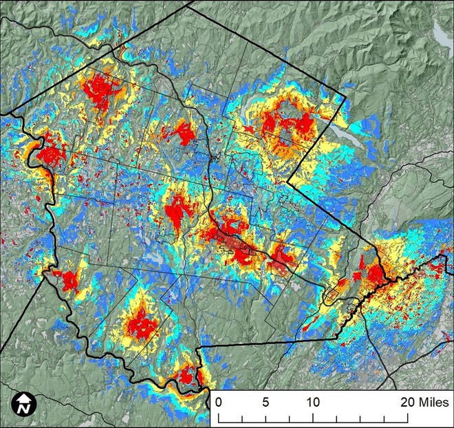 A predictive map of Sullivan County showing how the county's proposed high-speed wireless internet network might look as soon as by the end of 2023. Red areas, or those closest to LTE wireless broadband communications antennae towers, would have the strongest signals followed by orange, yellow and light-blue areas. Dark-blue areas likely would have service, but it would not be guaranteed.