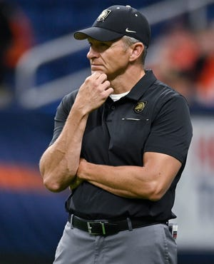 After Army's first losing season in four years, can Jeff Monken return the Black Knights to a winner under conditions like no other? DARREN ABATE/AP