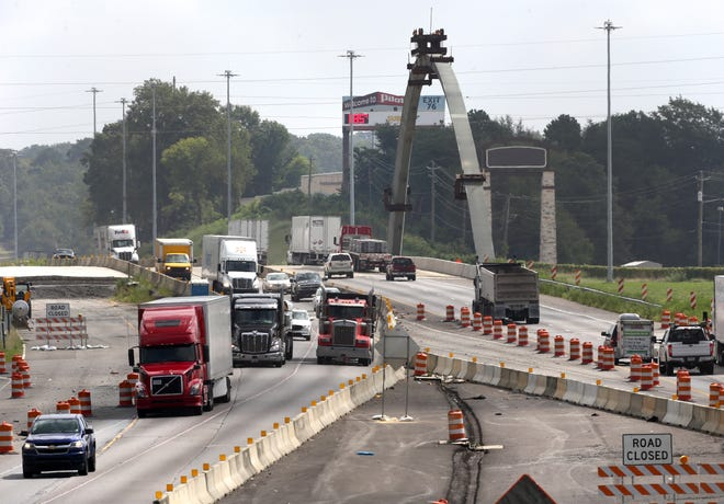 The first of two arches erected on the Interstate overpass at McFarland Blvd. is seen Thursday, Sept. 3, 2020.  [Staff Photo/Gary Cosby Jr.]