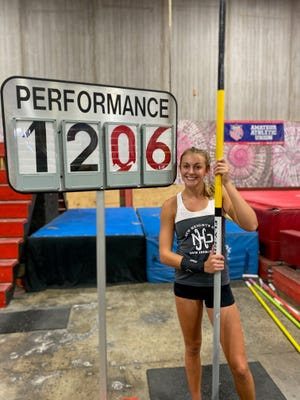 Menard junior Aly Jo Warren won a national championship at the AAU National Pole Vault Invitational Aug. 15 in Normal, Ill. after recording a clearance of 12 feet, 6 inches.