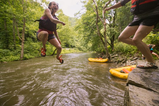 Jump Off Rock on the Nantahala River just upstream of the NOC is a cool spot for swimming or splashing.