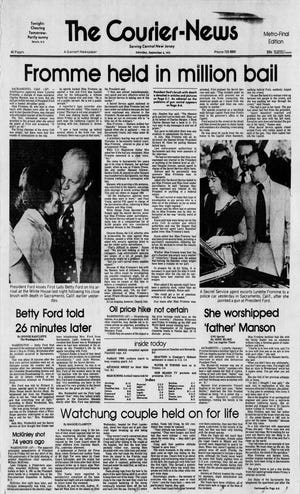 """The Sept. 6, 1975 edition of The Courier-News with the assassination attempt of President Gerald Ford by Lynette """"Squeaky"""" Fromme on the front page."""