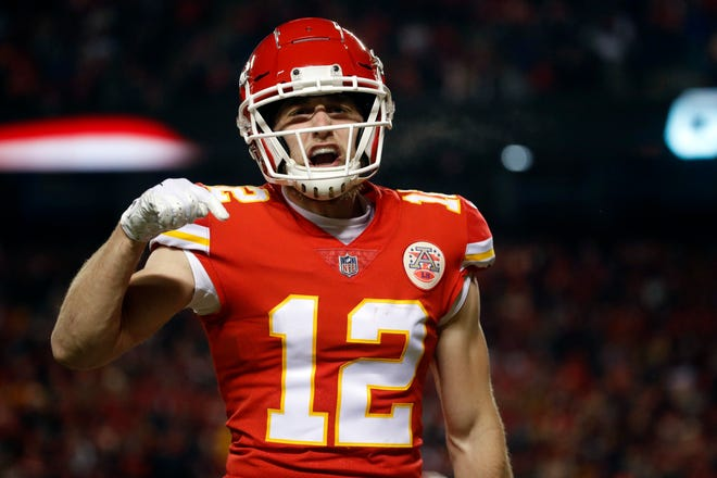 Kansas City Chiefs wide receiver Gehrig Dieter (12) reacts on a play during the second half of the AFC Championship NFL football game against the New England Patriots, Sunday, Jan. 20, 2019, in Kansas City, Mo.