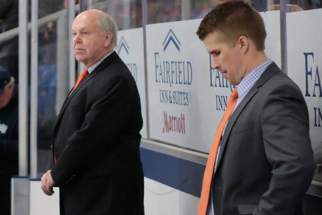 New Brighton hockey coach Kurt Kivisto (right) was an assistant for Paul Moggach (left) for 10 seasons.