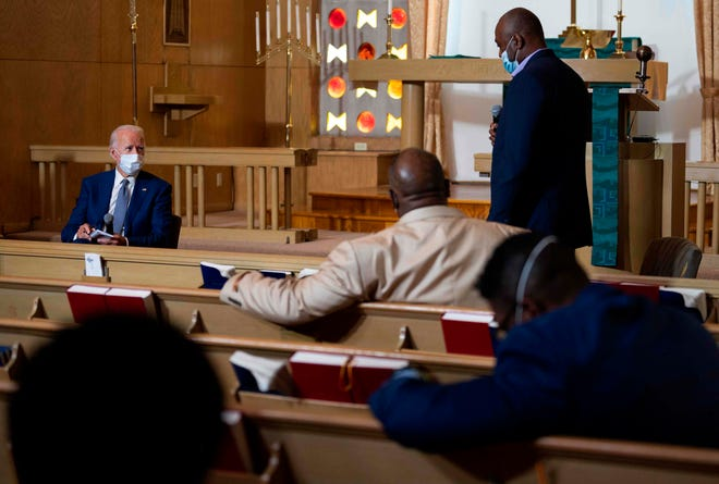Democratic presidential candidate and former Vice President Joe Biden speaks at Grace Lutheran Church in Kenosha in September in the aftermath of the police shooting of Jacob Blake.