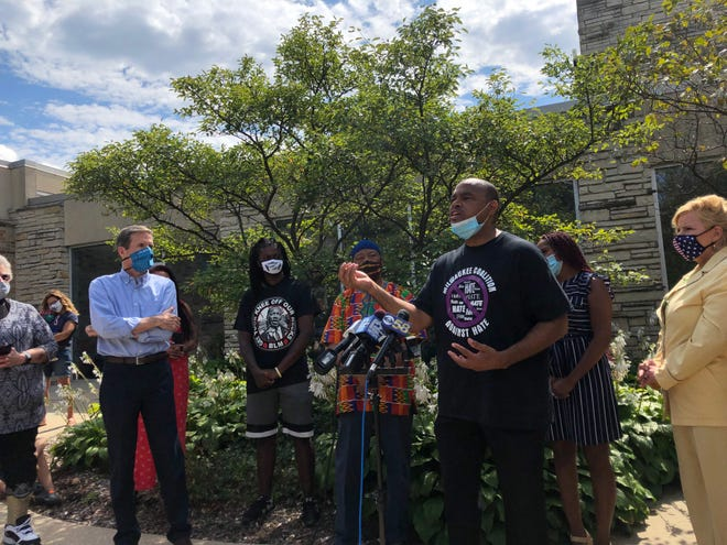 Tracey Dent, the leader of theMilwaukee Coalition Against Hate, speaks at a news conference on Thursday, Sept. 3, in Wauwatosa to call out a recent racist letter.