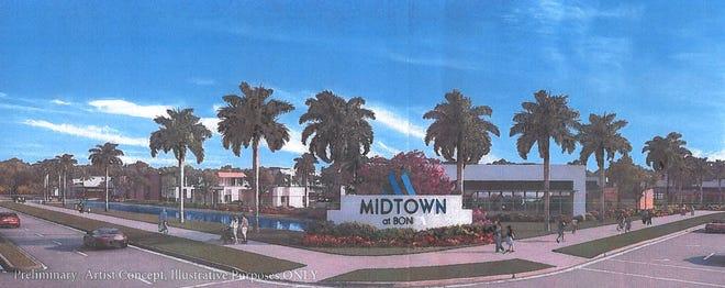 A rendering of Midtown at Bonita, an approved mixed-use project to be built at the northwest corner of Bonita Beach Road and Bonita Grande Drive.