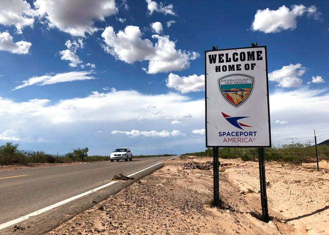 This Aug. 15, 2019, file photo shows the road to Spaceport America near Upham, New Mexico. An investigation into the conduct of Spaceport America's chief executive officer is ongoing and initial findings are expected in the coming weeks, the organization's interim leader said Wednesday, Sept. 2, 2020.