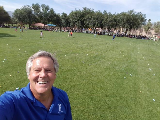 Nolan Sparks takes a selfie during a YMCA Easter egg hunt.