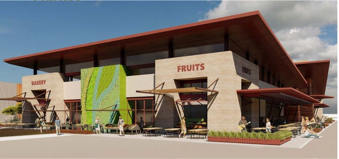 Renderings show the food distribution hub for the Arizona Fresh Agri-Food Innovation Center set to be built at the site of the former Del Rio landfill. It will feature food vendors and food innovation research.