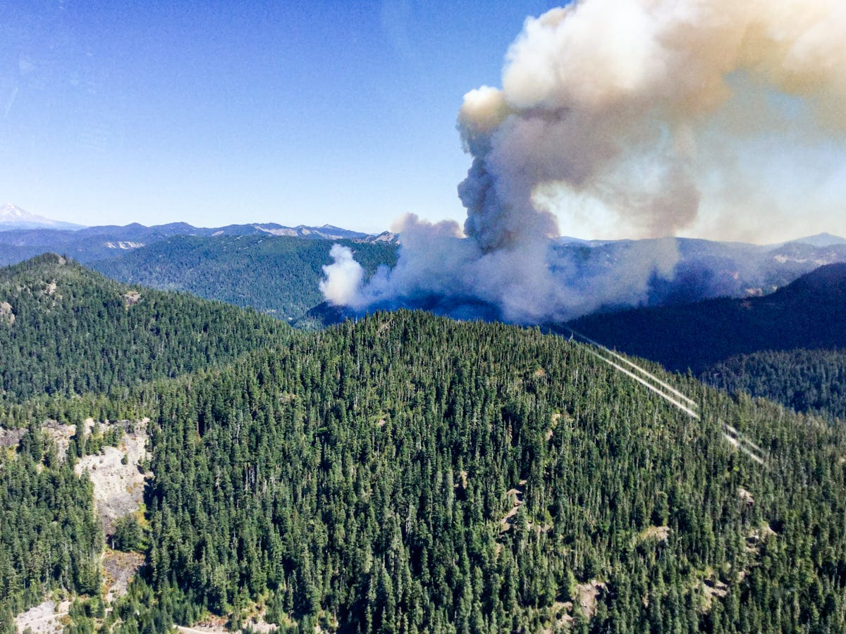 The Beachie Creek Fire in the Opal Creek Wilderness threw up a major smoke column on Wednesday.