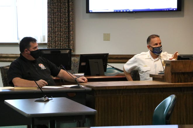 Ocean City Police Chief Ross Buzzuro (right) addresses the town's plan to combat a pop-up car rally that comes to Ocean City every September, which is popularly known as H2Oi.